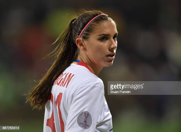 Alex Morgan of Lyon looks on during the UEFA Women's Champions League Quater Final first leg match between VfL Wolfsburg and Olympique Lyon at...