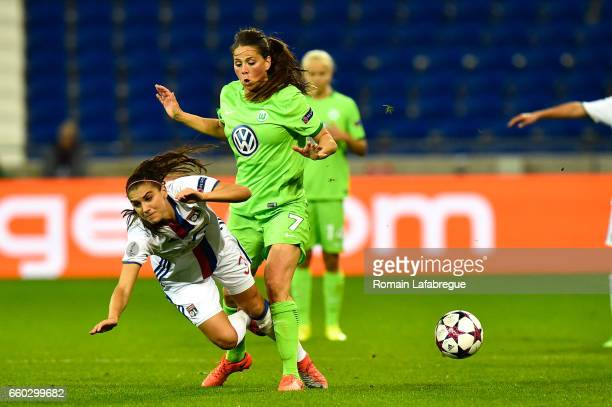 Alex Morgan of Lyon Sara Bjork Gunnarsdottir of Wolfsburg during the Women's Champions League match between Lyon and Wolfsburg at Gerland Stadium on...