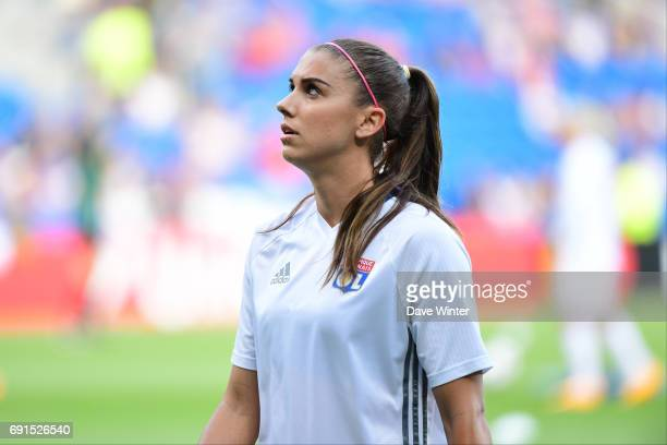 Alex Morgan of Lyon warms up before the final of the UEFA Women's Champions League match between Olympique Lyonnais and Paris SaintGermain at Cardiff...