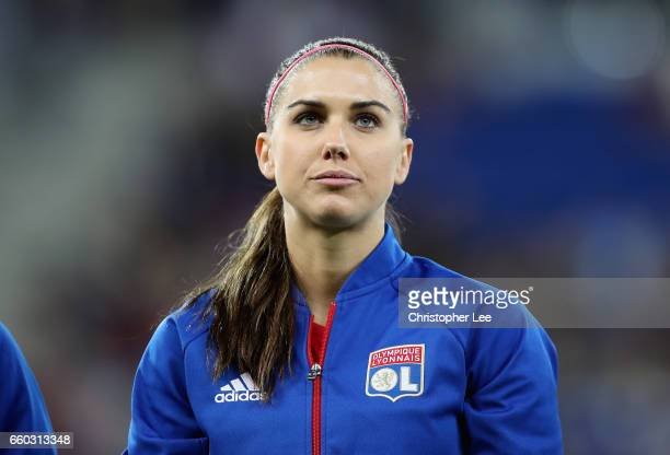 Alex Morgan of Olympique Lyon during the Women's Champions League match between Lyon and Wolfsburg at Stade de Lyon on March 29 2017 in Lyon France