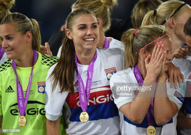 Alex Morgan of Olympique Lyonnais celebrates after winning the UEFA Women's Champions League Final penalty shoot out between Olympique Lyonnais and...