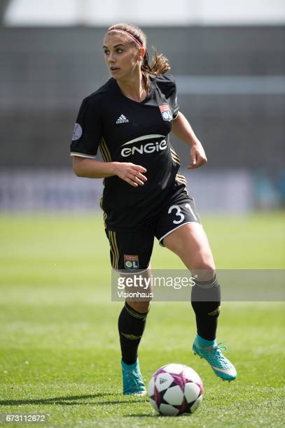 Alex Morgan of Olympique Lyonnais in action during the UEFA Women's Champions League semi final first leg match between Manchester City Women and...