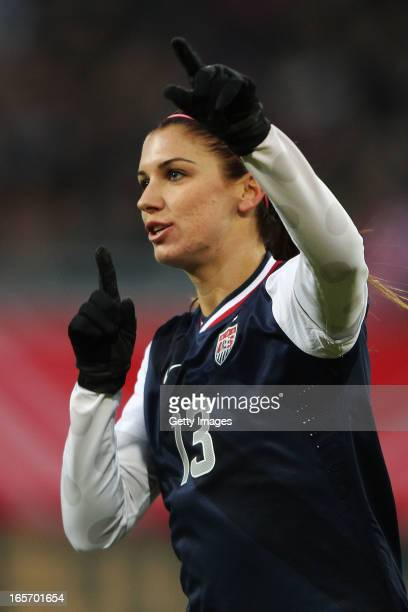 Alex Morgan of the United States celebrates after scoring her team's third goal during the Women's International Friendly match between Germany and...