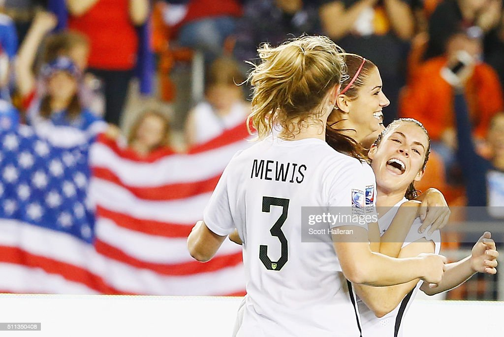 Alex Morgan #13 of the United States (C) celebrates after she scored a goal in the second half of their game against Trinidad and Tobago during their Semifinal of the 2016 CONCACAF Women's Olympic Qualifying at BBVA Compass Stadium on February 19, 2016 in Houston, Texas.