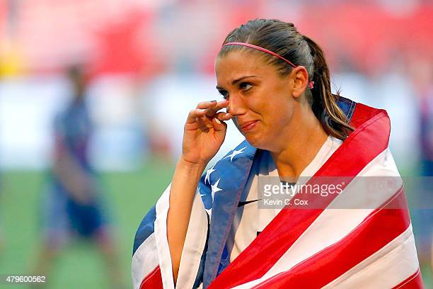 Alex Morgan of the United States celebrates the 52 victory against Japan in the FIFA Women's World Cup Canada 2015 Final at BC Place Stadium on July...
