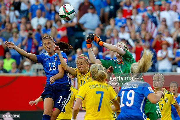 Alex Morgan of the United States goes up for a header as goalkeeper Hedvig Lindahl of Sweden looks to make a save in the second half in the FIFA...