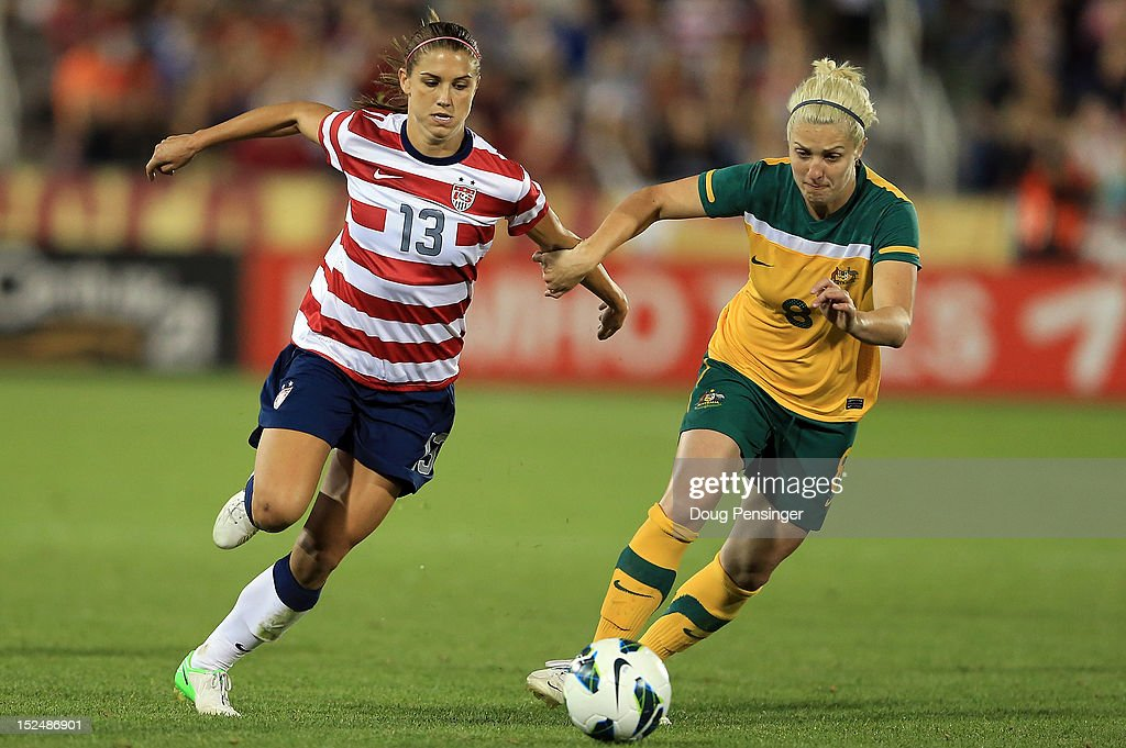 <a gi-track='captionPersonalityLinkClicked' href=/galleries/search?phrase=Alex+Morgan+-+Soccer+Player&family=editorial&specificpeople=1057310 ng-click='$event.stopPropagation()'>Alex Morgan</a> #13 of the USA and Danielle Brogan #8 of the Australia battle for control of the ball at Dick's Sporting Goods Park on September 19, 2012 in Commerce City, Colorado. The USA defeated Australia 6-2.