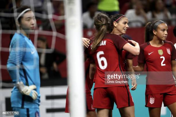 Alex Morgan of the USA celebrates after scoring a goal against the Korea Republic at the MercedesBenz Superdome on October 19 2017 in New Orleans...