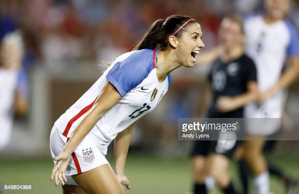 Alex Morgan of the USA celebrates after scoring a goal in the second half of the match against New Zealand at Nippert Stadium on September 19 2017 in...