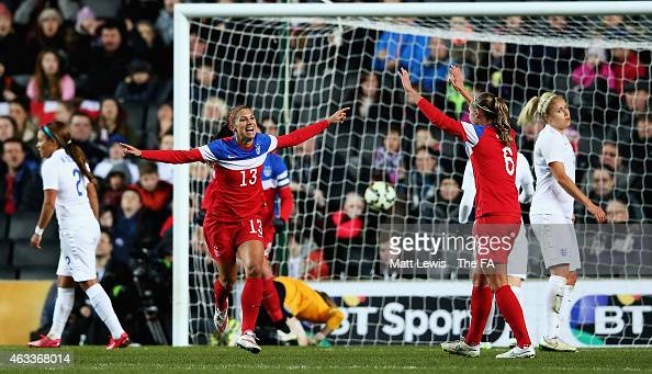 Alex Morgan of the USA celebrates her goal during a Women's International Friendly match between England and the USA at Stadium mk on February 13...
