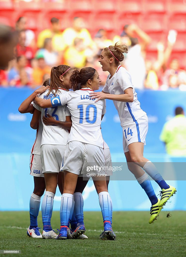 Alex Morgan of United States celebrates her goal with teammates after tying the game in the second half against Sweden during the Women's Football...