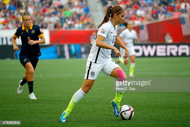 Alex Morgan of United States with the ball against Australia in the second half during the FIFA Women's World Cup 2015 Group D match at Winnipeg...
