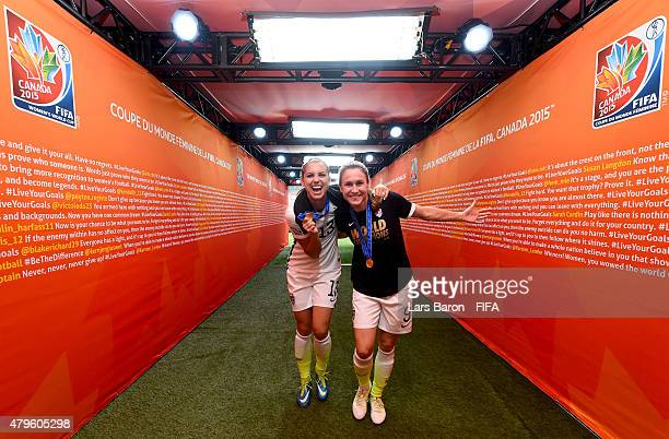 Alex Morgan of USA and Heather O'Reilly of USA celebrate after winning the FIFA Women's World Cup 2015 Final between USA and Japan at BC Place...