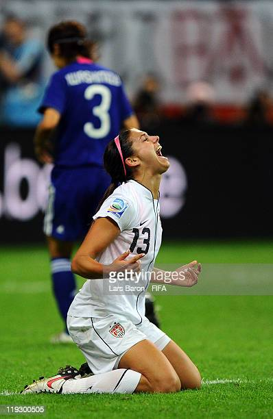 Alex Morgan of USA celebrates after scoring her teams first goal during the FIFA Women's World Cup Final match between Japan and USA at the FIFA...