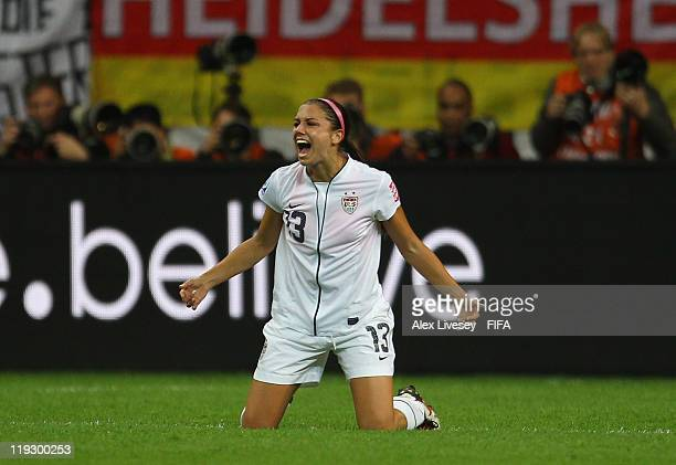 Alex Morgan of USA celebrates after scoring the opening goal during the FIFA Women's World Cup Final match between Japan and USA at the FIFA Women's...