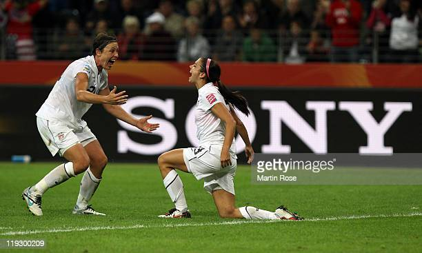 Alex Morgan of USA celebrates after she scores her team's opening goal during the FIFA Women's World Cup Final match between Japan and USA at the...
