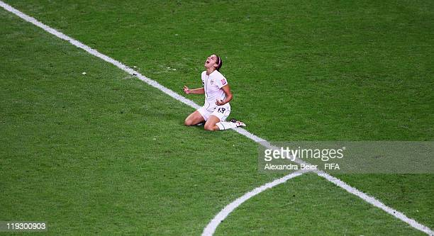 Alex Morgan of USA celebrates her first goal during the FIFA Women's World Cup Final match between Japan and USA at the FIFA World Cup stadium...