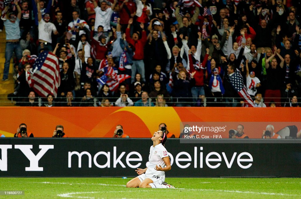 Alex Morgan of USA celebrates her goal against Japan during the FIFA Women's World Cup Final match between Japan and USA at the FIFA World Cup...