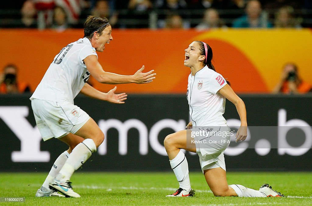 Alex Morgan of USA celebrates her goal against Japan with Abby Wambach during the FIFA Women's World Cup Final match between Japan and USA at the...