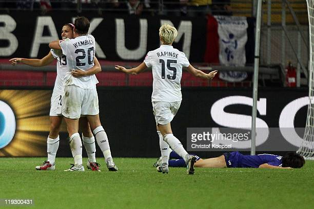 Alex Morgan of USA celebrates the first goal with Abby Wambach of USA and Megan Rapinoe of USA during the FIFA Women's World Cup Final match between...