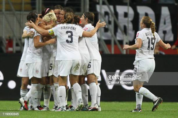 Alex Morgan of USA celebrates the first goal with her team during the FIFA Women's World Cup Final match between Japan and USA at the FIFA World Cup...