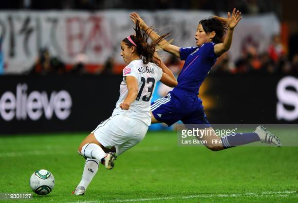 Alex Morgan of USA scores her teams first goal during the FIFA Women's World Cup Final match between Japan and USA at the FIFA Women's World Cup...