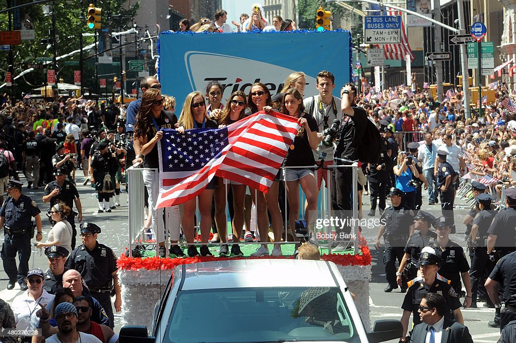 Alex Morgan, Tobin Heath, Lauren Holiday, Amy Rodriguez and Morgan Brian during the New York City Holds Ticker Tape Parade For World Cup Champions U.S. Women's Soccer National Team on July 10, 2015 in New York City.