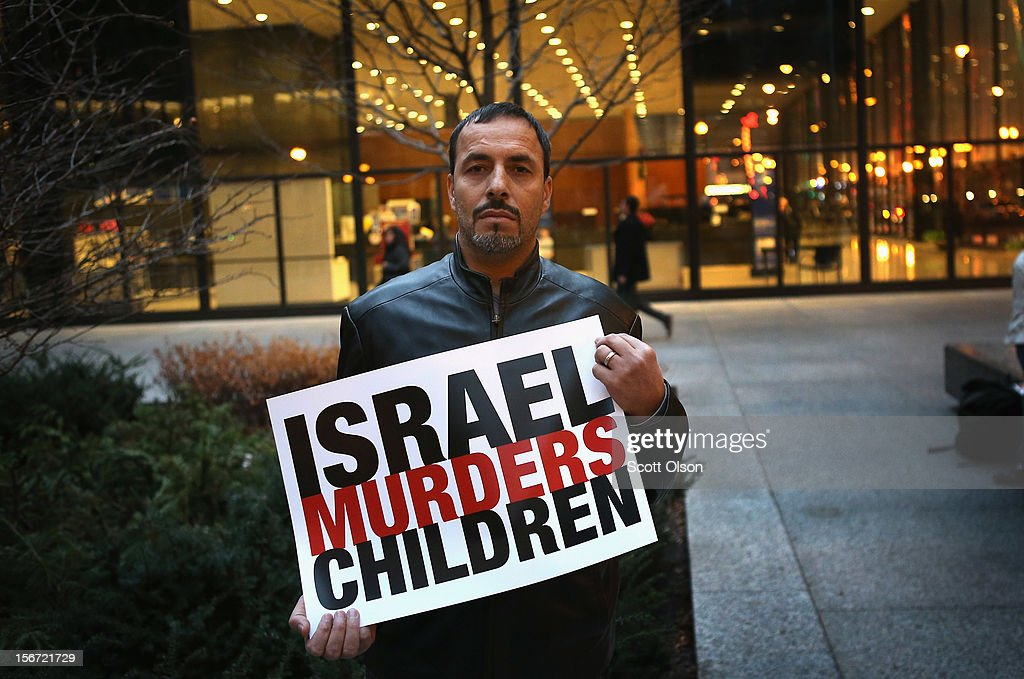 Alex Muhamad participates in a demonstration calling for an end to Israeli attacks on Gaza on November 19, 2012 in Chicago, Illinois. Several hundred protestors rallied in the Federal Building Plaza before marching through the Loop during rush hour.