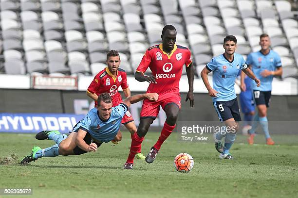 Alex Mullen of Sydney FC contests the ball with Ruon Tongyik of Adelaide United during the National Youth League Final match between Adelaide United...