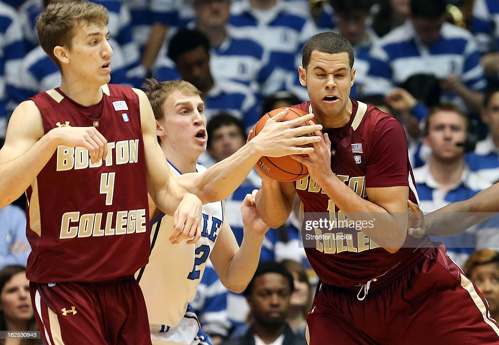 Alex Murphy #12 of the Duke Blue Devils and Ryan Anderson #12 of the Boston College Eagles battle for the ball during their game at Cameron Indoor Stadium on February 24, 2013 in Durham, North Carolina.