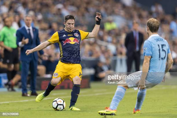 Alex Muyl of New York Red Bulls plays the ball to a teammate in the US Open Cup Final match against Sporting Kansas City at Children's Mercy Park on...