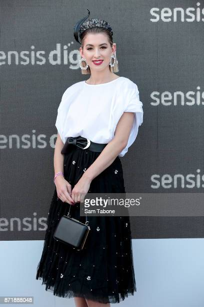 Alex Nation poses at the Sensis Marquee on Oaks Day at Flemington Racecourse on November 9 2017 in Melbourne Australia