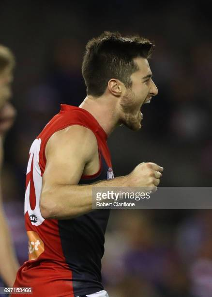 Alex NealBullen of the Demons celebrates after scoring a goal during the round 13 AFL match between the Western Bulldogs and the Melbourne Demons at...