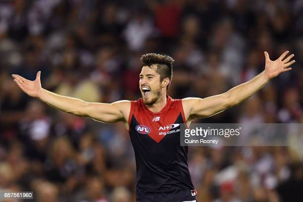Alex NealBullen of the Demons celebrates kicking a goal during the round one AFL match between the St Kilda Saints and the Melbourne Demons at Etihad...