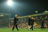 Alex Neil Manager of Norwich City applauds supporters following relegation during the Barclays Premier League match between Norwich City and Watford...