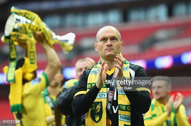 Alex Neil manager of Norwich City celebrates after the Sky Bet Championship Playoff Final between Middlesbrough and Norwich City at Wembley Stadium...