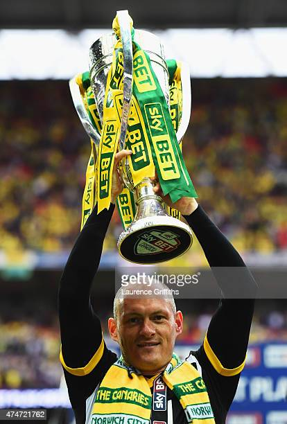 Alex Neil manager of Norwich City celebrates with the trophy after the Sky Bet Championship Playoff Final between Middlesbrough and Norwich City at...