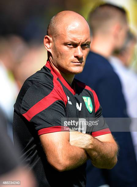 Alex Neil Manager of Norwich City during the Barclays Premier League match between Norwich City and Stoke City at Carrow Road on August 22 2015 in...