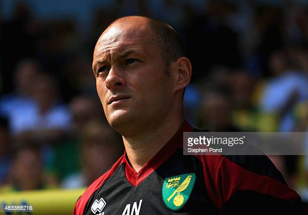 Alex Neil Manager of Norwich City looks on during the Barclays Premier League match between Norwich City and Crystal Palace at Carrow Road on August...