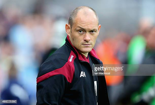 Alex Neil manager of Norwich City looks on during the Barclays Premier League match between Newcastle United and Norwich City at St James' Park on...