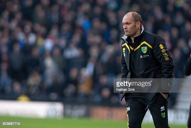 Alex Neil manager of Norwich City looks on during the Sky Bet Championship match between Derby County and Norwich City at iPro Stadium on November 26...