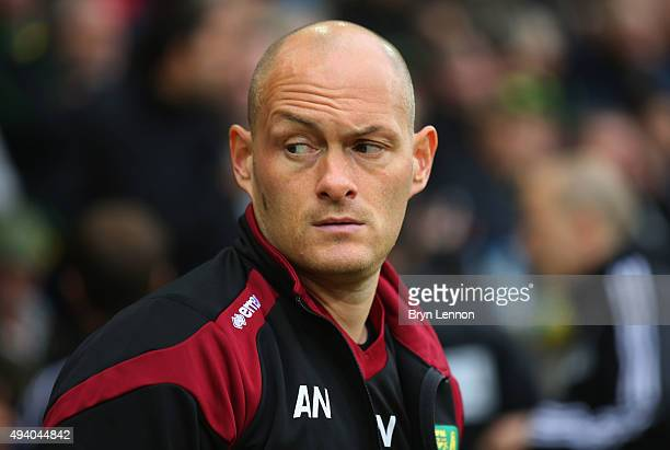 Alex Neil Manager of Norwich City looks on prior to the Barclays Premier League match between Norwich City and West Bromwich Albion at Carrow Road on...