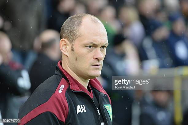 Alex Neil Manager of Norwich City looks on prior to the Barclays Premier League match between Norwich City and Everton at Carrow Road on December 12...