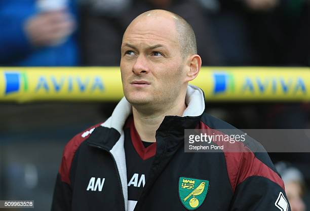 Alex Neil Manager of Norwich City looks on prior to the Barclays Premier League match between Norwich City and West Ham United at Carrow Road on...