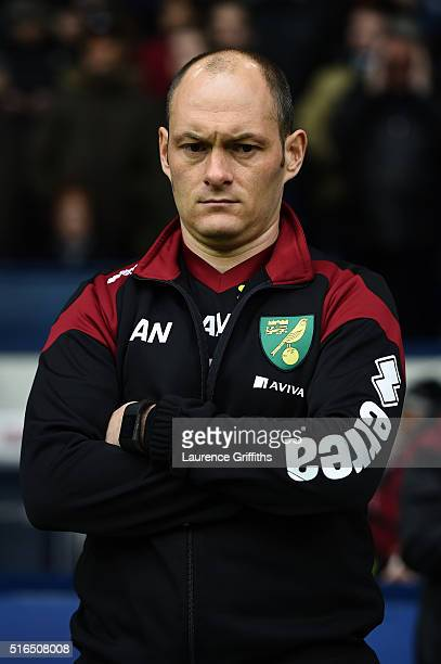 Alex Neil Manager of Norwich City looks on prior to the Barclays Premier League match between West Bromwich Albion and Norwich City at The Hawthorns...