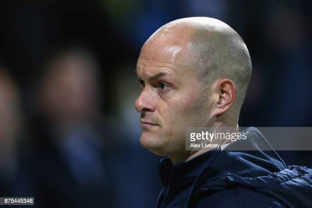 Alex Neil the manager of Preston North End looks on during the Sky Bet Championship match between Preston North End and Bolton Wanderers at Deepdale...