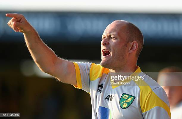 Alex Neil the Norwich City manager shouts instructions during the pre season friendly match between Cambridge United and Norwich City at the Abbey...