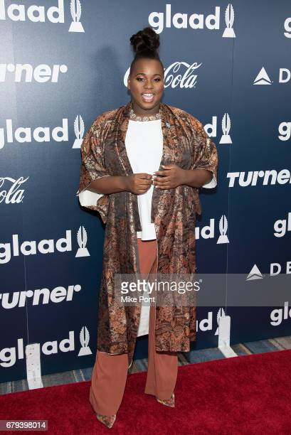 Alex Newell attends the 2017 GLAAD Rising Stars Luncheon at The Hilton Midtown on May 5 2017 in New York City