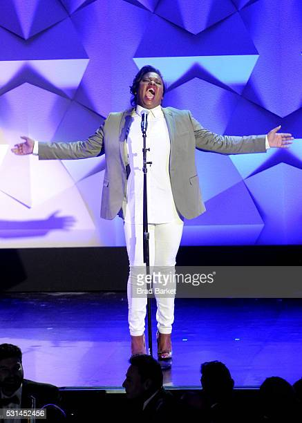 Alex Newell performs onstage at the 27th Annual GLAAD Media Awards hosted by Ketel One Vodka at the WaldorfAstoria on May 14 2016 in New York City