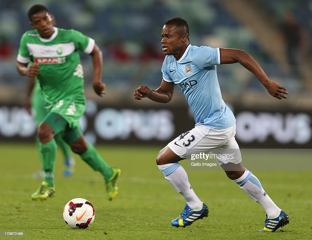Alex Nimely of Manchester City during the Nelson Mandela Football Invitational match between AmaZulu and Manchester City at Moses Mabhida Stadium on July 18, 2013 in Durban, South Africa.